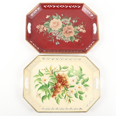 Pair of Hand-Painted Tole Trays