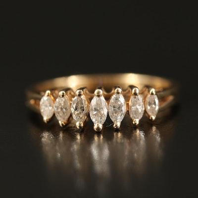 14K Marquise Cut Diamond Step Ring