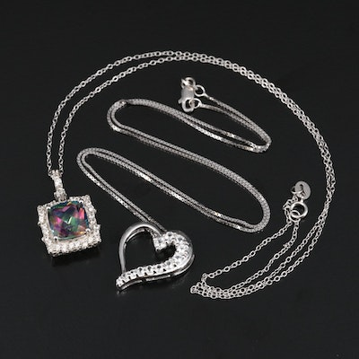Sterling Silver Heart and Mystic Topaz Necklaces