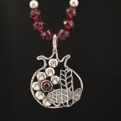 Sterling Rhodolite Garnet Fish Bowl Necklace