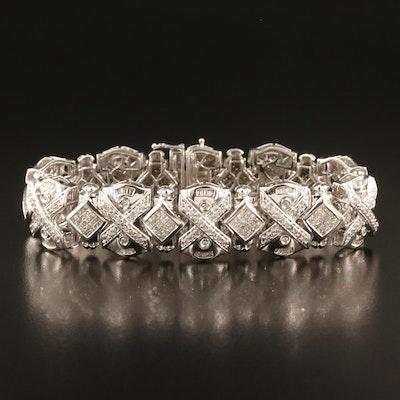 "14K 7.40 CTW Diamond ""X"" Link Bracelet"
