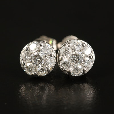 14K 1.26 CTW Diamond Cluster Stud Earrings