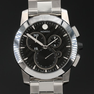 "Movado ""Vizio"" Chronograph Stainless Steel Quartz Wristwatch"