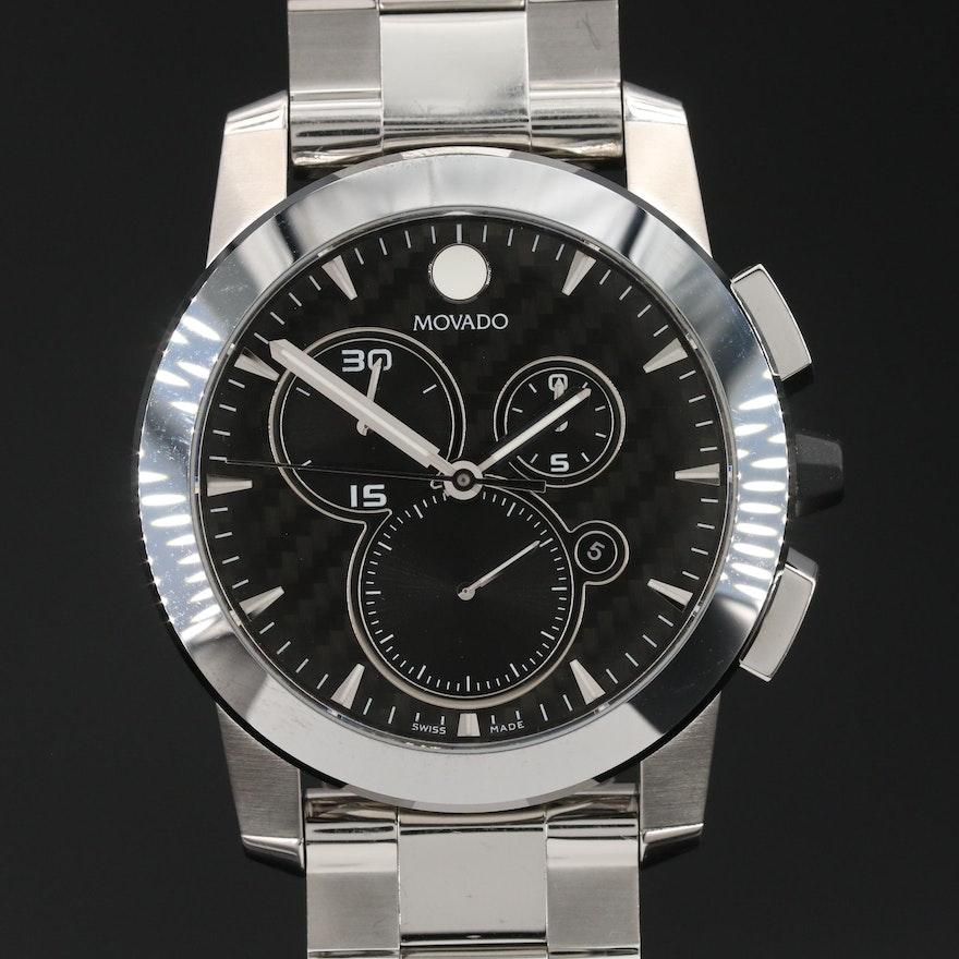 "Movado ""Vizio"" Chronograph Stainless Steel Quartz Wristwatch"