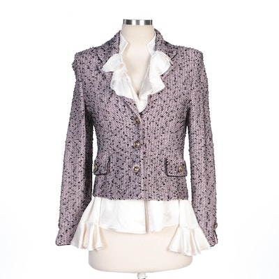St. John Collection Pink Tweed Jacket and St. John Ruffled Silk Blend Blouse