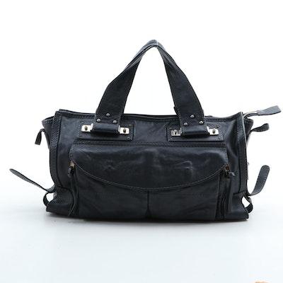Chloé Dark Charcoal Gray Grained Leather Handbag