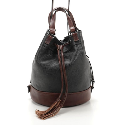 Divina Firenze Two-Way Bucket Bag in Grained Black and Mahogany Brown Leather