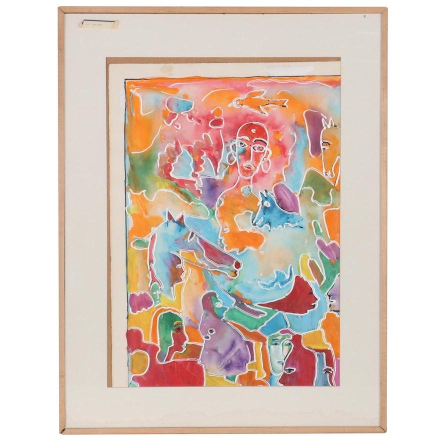 "Charles Tullio Acrylic Painting ""The Baby,"" Late 20th Century"