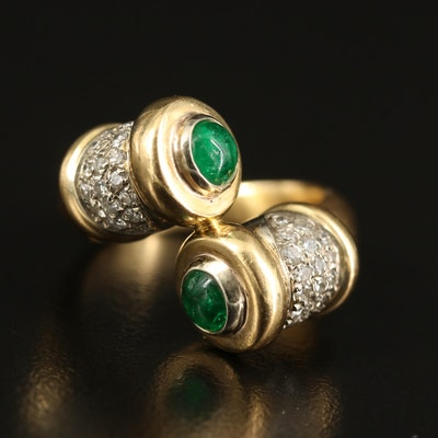 Chimento 18K Diamond and Emerald Bypass Ring