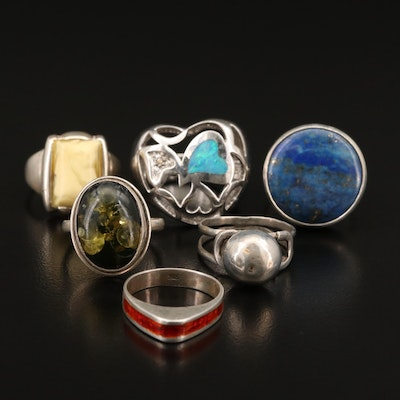 Sterling Silver Rings Including Opal, Diamonds and Enamel