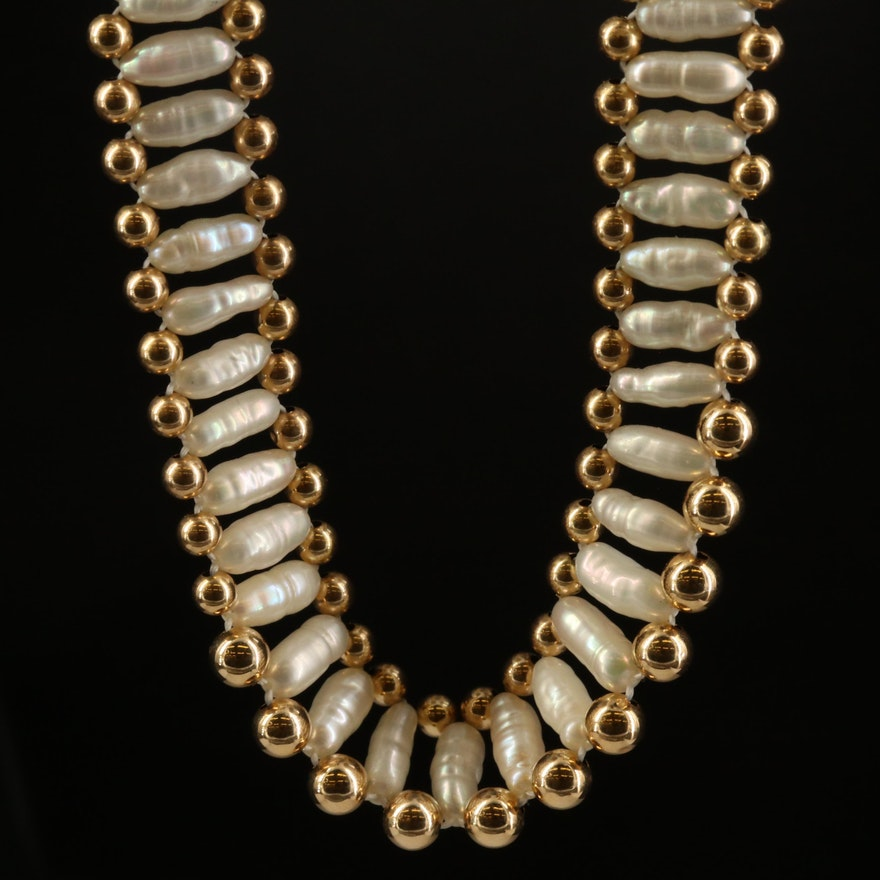 14K Pearl Baroque Necklace