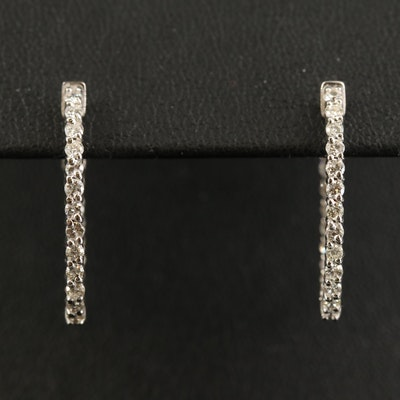 14K Diamond Oval Inside-Out Oval Hoop Earrings