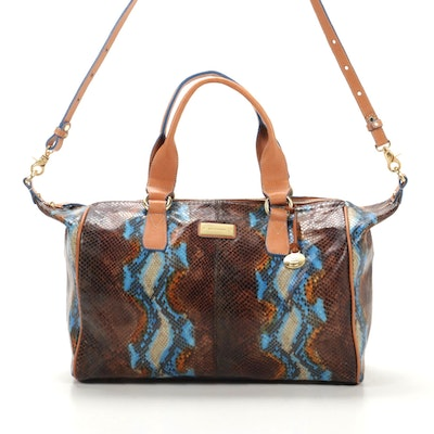 Brahmin Barrel Bag in Snake Embossed Leather