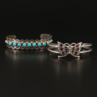 Sterling Silver Butterfly Cuff with Turquoise Stampwork Cuff