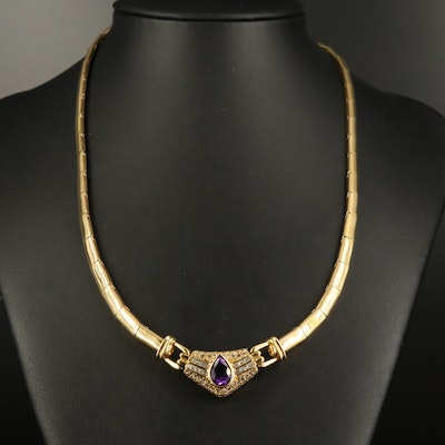 18K Amethyst and 1.47 CTW Diamond Necklace