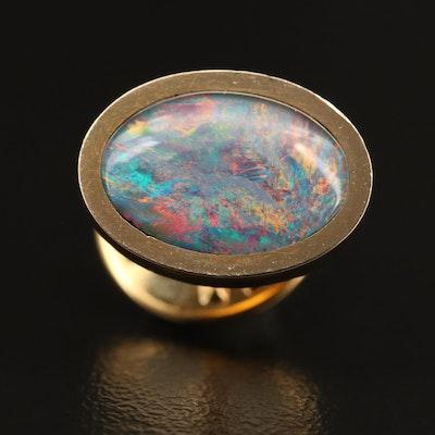 14K Opal and Quartz Doublet Tie Tac