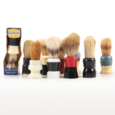 Collection of Shaving Brushes with Natural Bristles, Early to Mid 20th Century