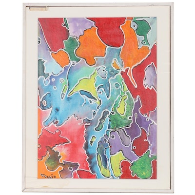 "Charles Tullio Abstract Acrylic Painting ""Tiger Flower,"" Late 20th Century"
