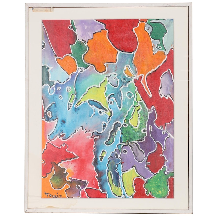"""Charles Tullio Abstract Acrylic Painting """"Tiger Flower,"""" Late 20th Century"""