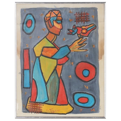 Charles Tullio Abstract Figural Acrylic Painting, 1975
