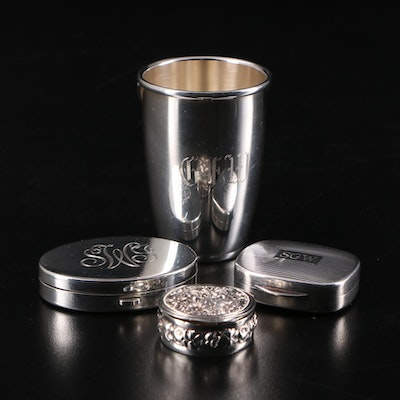 Tiffany & Co. Sterling Pill Box and Compact with Gorham Sterling Shot Glass