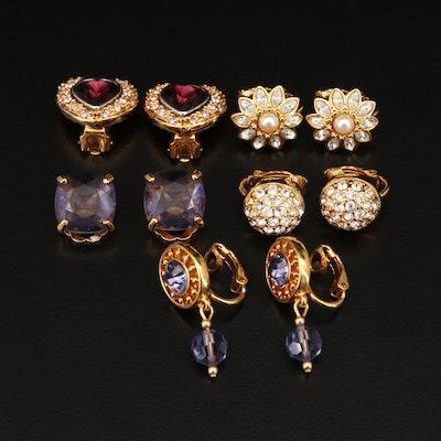 Swarovski Rhinestone and Faux Pearl Earrings