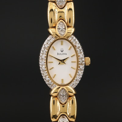 "Bulova ""Diamond Collection"" Gold Tone Quartz Wristwatch"