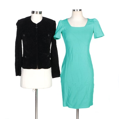 St. John Collection Black Knit Zipper-Front Jacket with St. John Turquoise Dress
