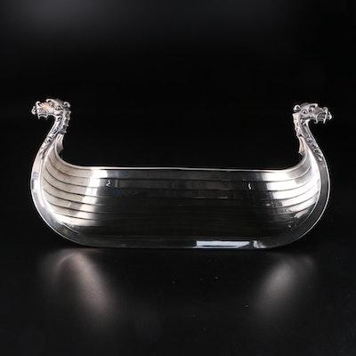 Magnus Aase Norwegian Sterling Silver Viking Ship Bowl