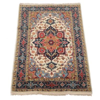 4' x 6' Hand-Knotted Persian Heriz Serapi Wool Rug