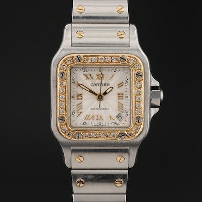 Cartier Santos Galbee 18K Gold and Stainless Steel Diamond Bezel Wristwatch