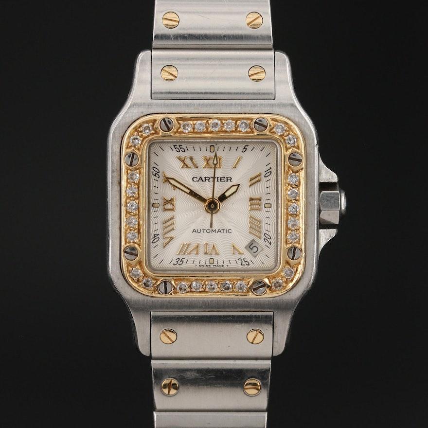 Cartier Santos Galbee 18K Gold and Stainless Steel Diamond Bezel Wristwatch