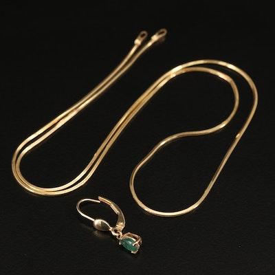 14K Scrap Jewelry Including Emerald