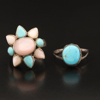 Sterling Rings with Turquoise, Mother of Pearl and Faux Turquoise