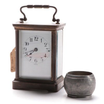 French Brass Carriage Clock with Chinese Inkwell