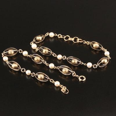 Vintage Gold Filled Pearl Link Bracelets
