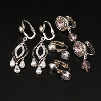 Cubic Zirconia and Rhinestone Earrings Featuring Swarovski and Sterling