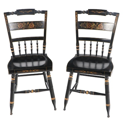 "Pair of L. Hitchcock Ebonized and Gilt-Stenciled ""Fancy"" Side Chairs"