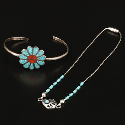 Southwestern Sterling Turquoise and Coral Bracelet Featuring Bear Paw Anklet