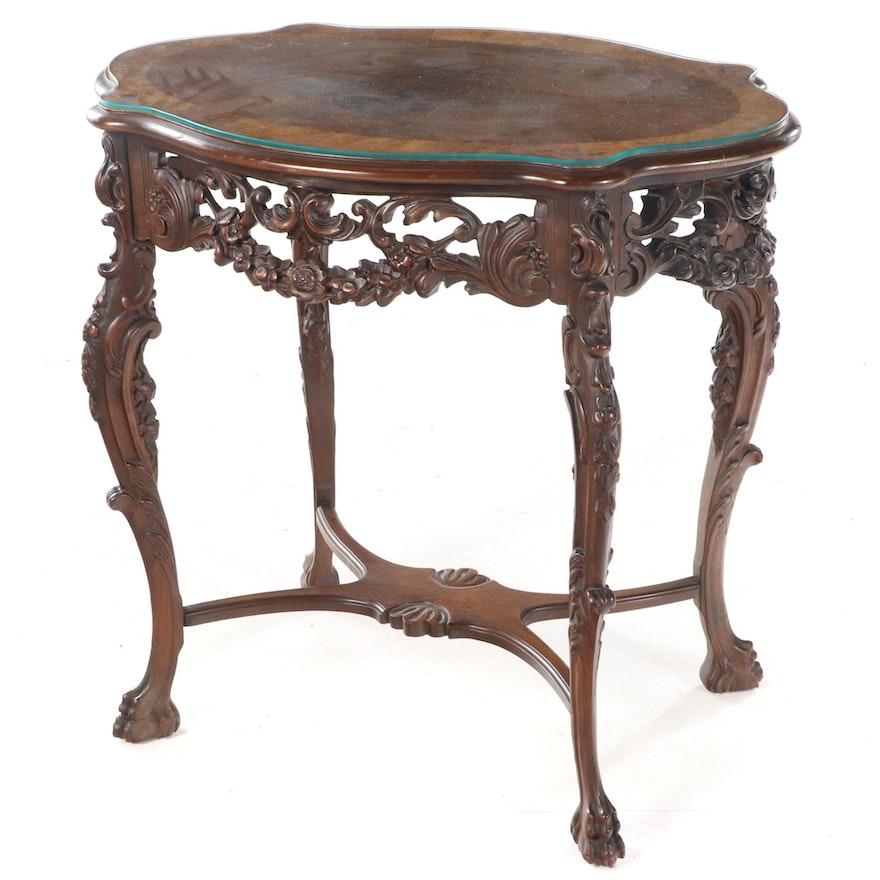 Rococo Style Walnut and Burlwood-Crossbanded Parlor Table, circa 1930