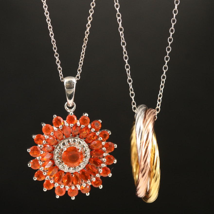 Sterling Fire Opal Pendant and Entwined Circle Pendant Necklaces