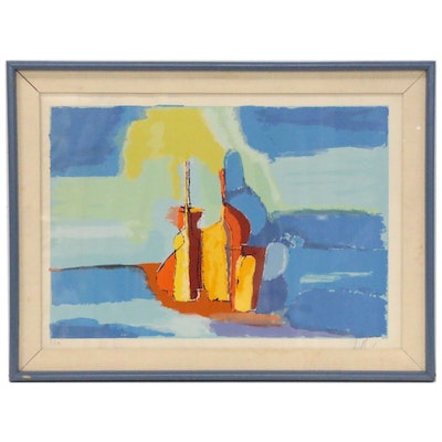 Abstract Still Life Serigraph, Mid-20th Century