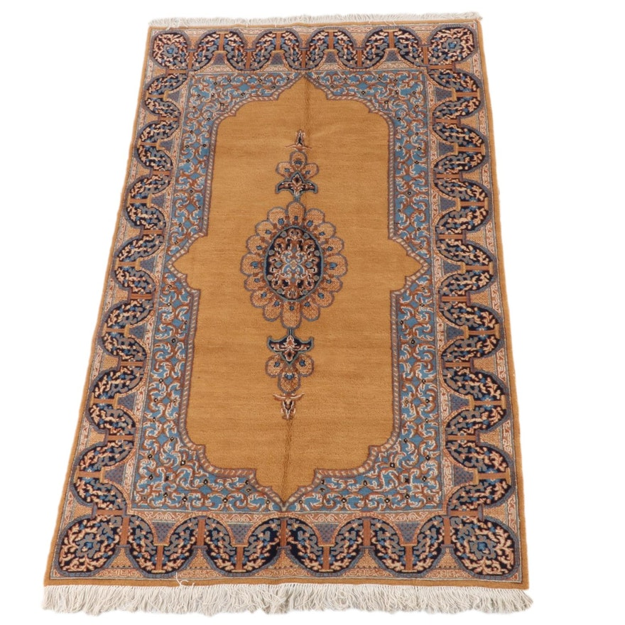 5'2 x 9'3 Hand-Knotted Indo-Persian Kerman Wool Rug