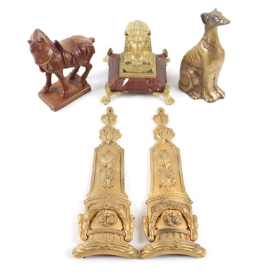 Egyptian-Revival Inkwell, French Ormolu, and Varied Figurines