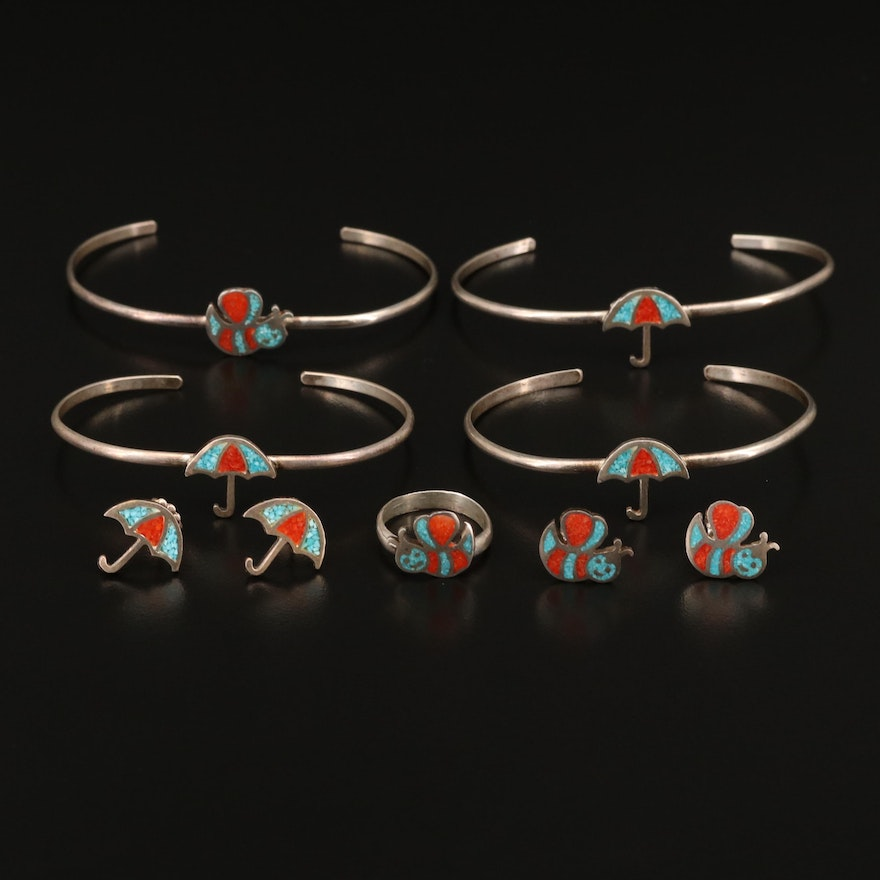 Sterling Silver Coral and Turquoise Inlay Jewelry