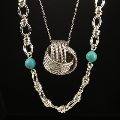 Sterling Turquoise Station and Knot Necklaces