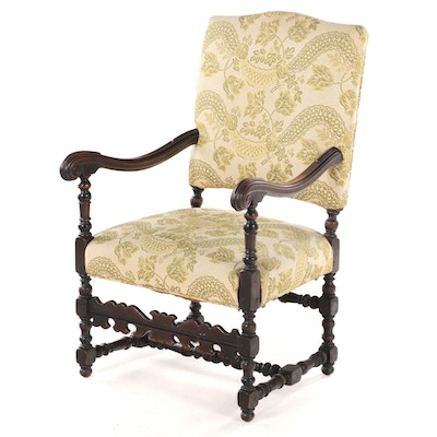 Louis XIII Style Walnut Armchair, Late 19th/Early 20th Century