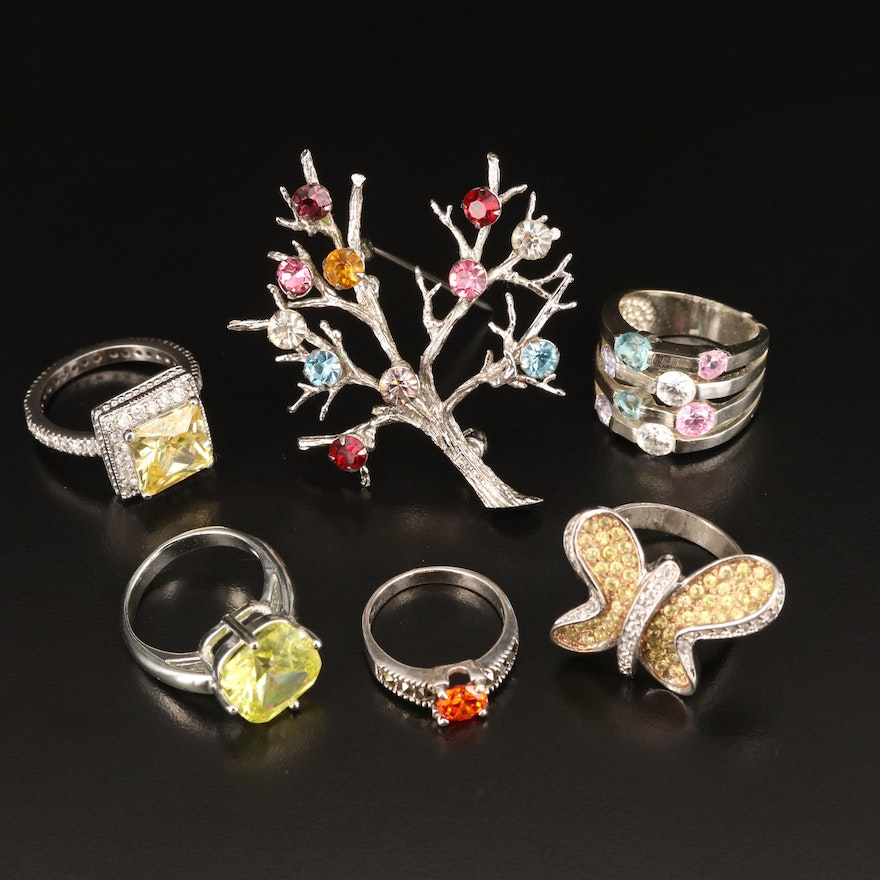 Sterling Rings and Tree Brooch with Cubic Zirconia, Rhinestone and Marcasite