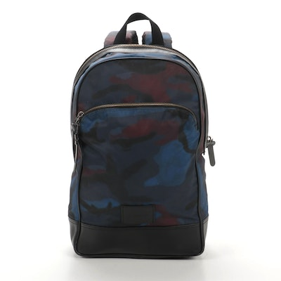Coach Backpack in Camouflage Nylon and Black Leather