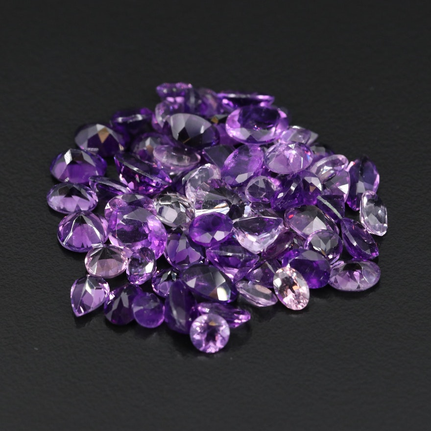 Loose 49.86 CTW Mixed Faceted Amethyst